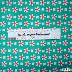 "Tissu Coton Bio collection Al&Co ""Kyoto"" fond bleu 35x50 cm"