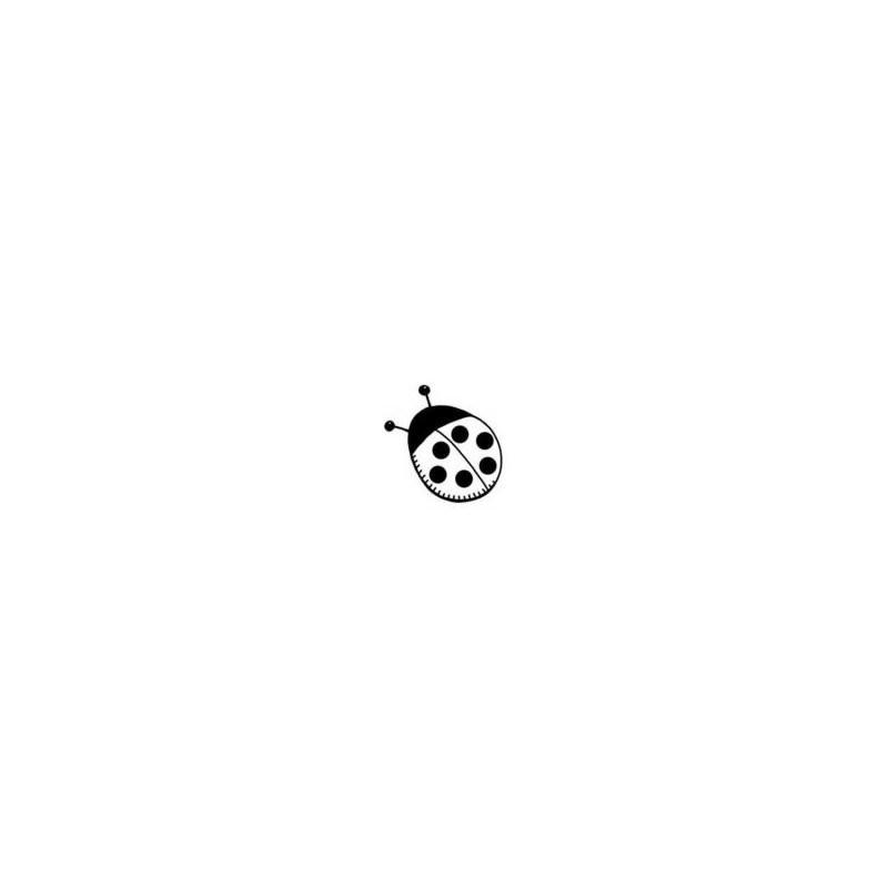 Tampon Bois carré, impression Petite coccinelle, 2,5 cm x 2,5 cm