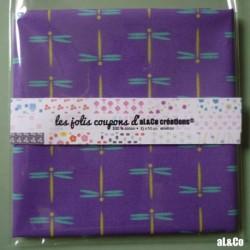 """Tissu Coton Bio collection Al&Co """"Libellules"""" fond violet 35x50 cm"""