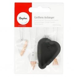 Mini moule forme coeur pour pendentif à créer, Adapté Au Béton , 3.9 cm  x 2.9 cm