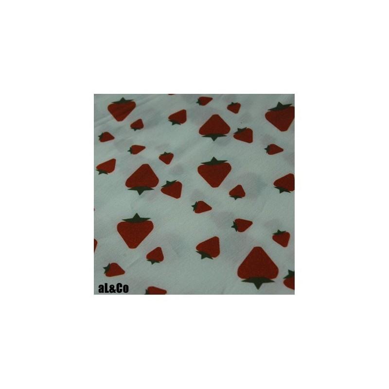 """Tissu Coton Bio collection Al&Co """"Fraises Stramberry Field""""  35x50 cm"""