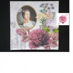 """Serviette en papier motifs """"Madame de Pompapour & Pivoine"""" Ton  Mauve (vendue à l'unité)  33 x 33 cm"""