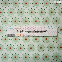 """Tissu Coton Bio collection Al&Co """"Pacifique"""" fond crème motifs points 35x50 cm"""