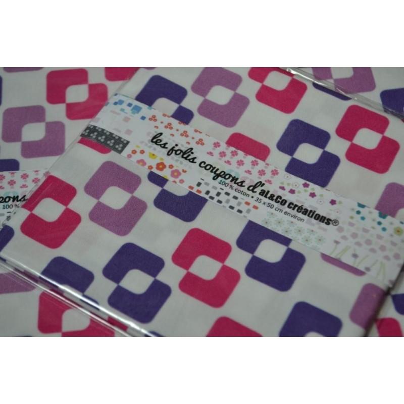 "Tissu Coton Bio collection Al&Co ""Vintage"" mauve/fushia 35x50 cm"