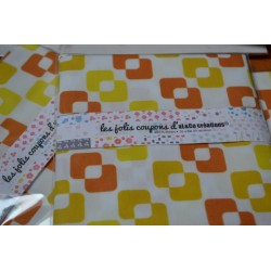 "Tissu Coton Bio collection Al&Co ""Vintage"" jaune/orange 35x50 cm"