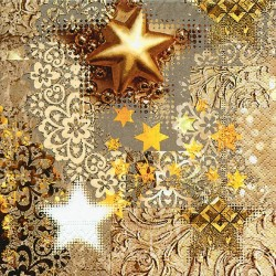 """Serviette en papier motifs """"Etoile Dorée de Noël""""   (vendue à l'unité)  30 x 30 cm"""
