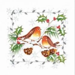 """Serviette en papier motifs """"Oiseaux Rouge Gorge & Houx""""   (vendue à l'unité)  30 x 30 cm"""
