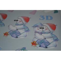 """Carte 3D Planche à découper Image 3 D """"Couple Bonhomme de Neige"""" (pour création 2 motifs cartes différents)"""