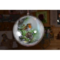 Boule décorative plastique transparent grand modèle (diamètre 16 cm) séparable, vendu à l'unité