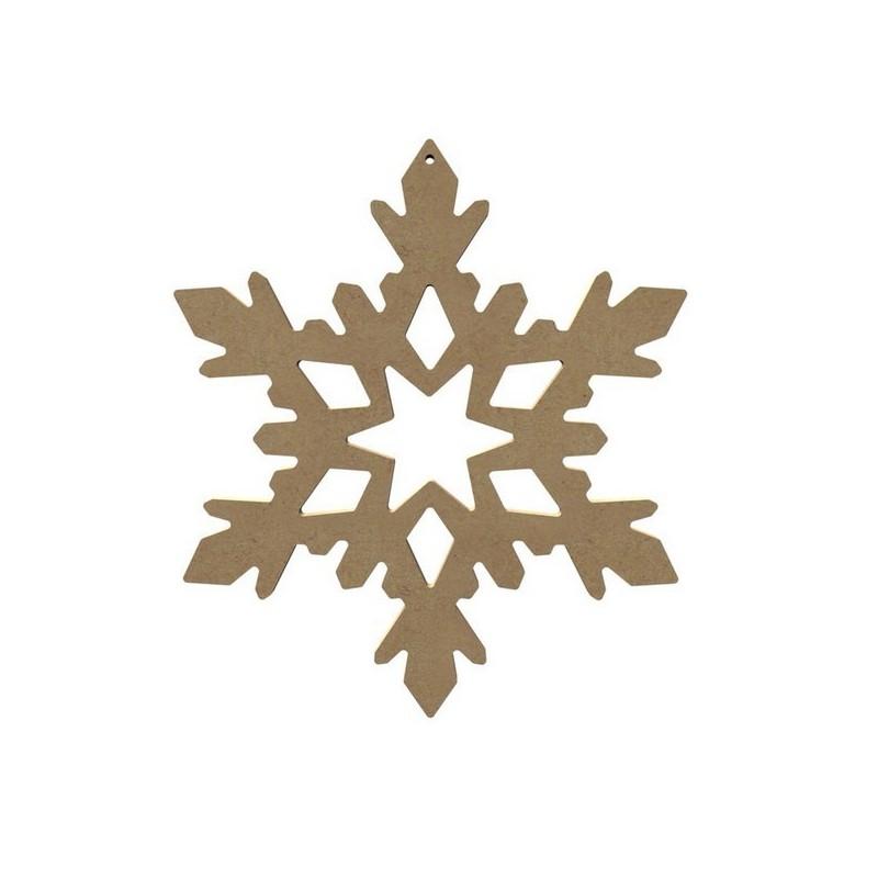 Support à décorer en Médium  Flocon de Neige Ajouré (A suspendre ou à poser en bougeoir led) Grand Modèle