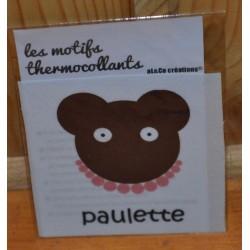 """Motif thermocollant  à appliquer ourson """"Paulette"""""""