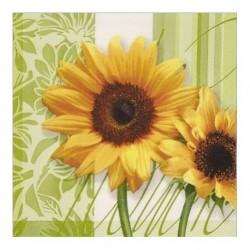 Serviette en papier motifs Tournesol   (vendue à l'unité)  30 x 30 cm