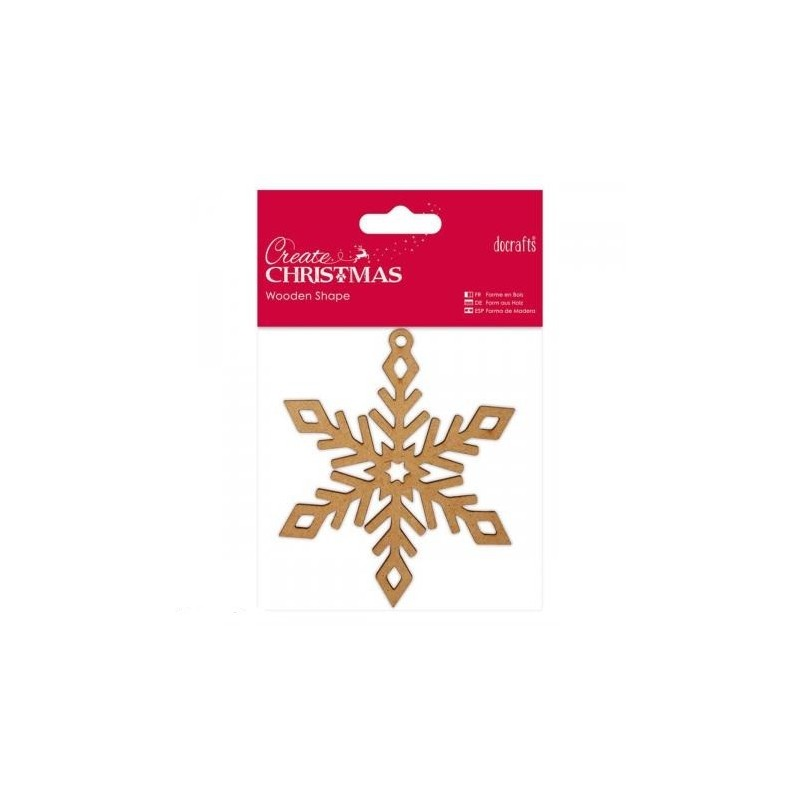 Support à décorer en Médium  Flocon de Neige Ajouré (A suspendre ou à poser)  Modèle Moyen