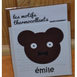 """Motif thermocollant  à appliquer ourson """"Emile"""""""