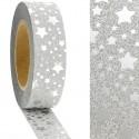 """Ruban adhésif décoratif Masking Tape Glitter Fond Gris Pailleté """"Etoiles Argentées""""  1,5 cm x 10 m"""