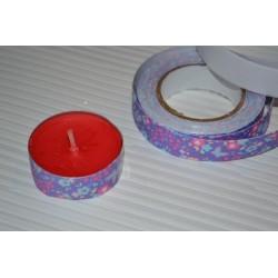 """Ruban adhésif décoratif Masking Tape Glitter Fond Gris Pailleté """"Etoiles Rouge""""  1,5 cm x 10 m"""