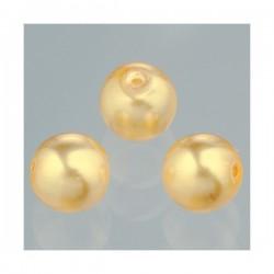 """Perles ronde  Luster verre ciré effet nacré Doré """"CHAMPAGNE""""  8 mm (20 pièces)"""