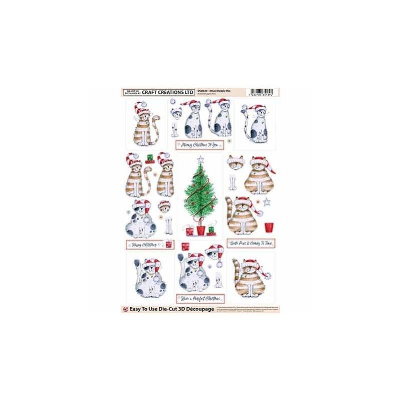 """Carte 3 D Planche Prédécoupée Image 3 D """" Chats Noel"""" (permet création de 2 cartes différentes)"""