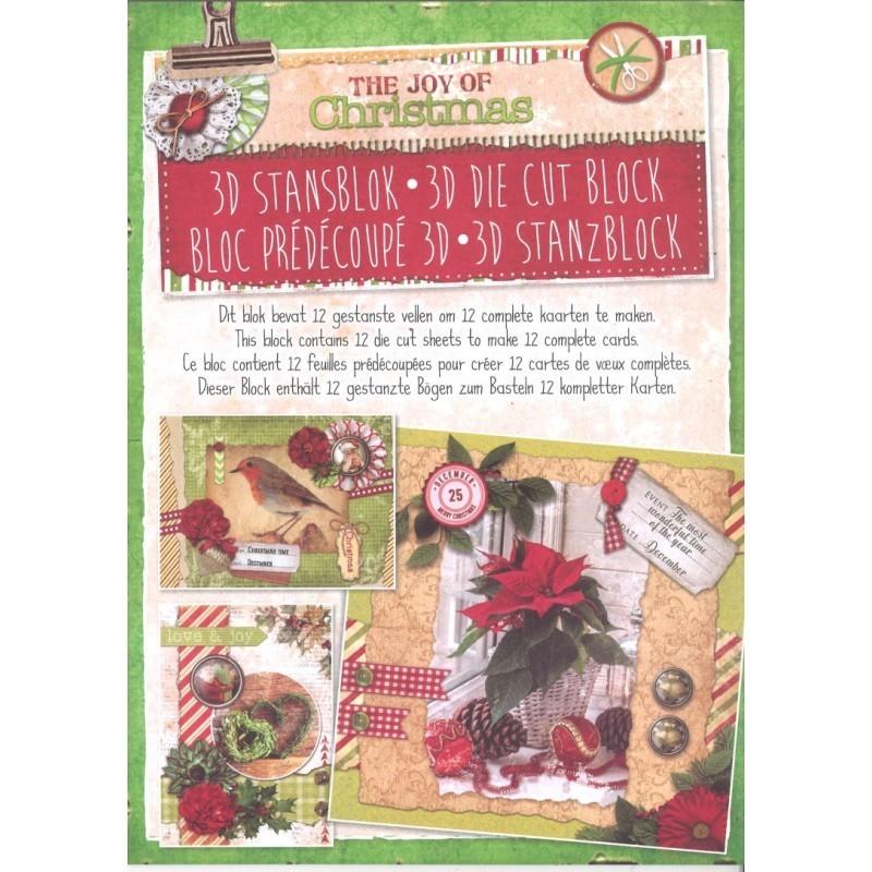 """Cartes 3 D BLOC 12 feuilles A4 180 gr papier CARTERIE 3D  Stansbloc bloc cartes prédécoupées Thème """"La joie de NOEL"""" 12 Cartes"""