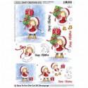 Planche images motifs 3 D Prédécoupés  Fillette habit Noel Cadeaux