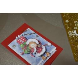 """Carte 3 D Planche Prédécoupée Image 3 D """" Fillette habit Noel Cadeaux"""" (permet création de 2 cartes différentes)"""