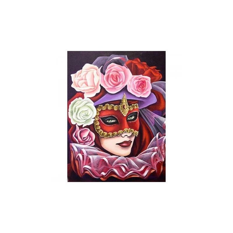 """Image 3 D """"Masque de Venise"""" 30 x 40 cm Tableau à réaliser avec la Technique du 3 D"""