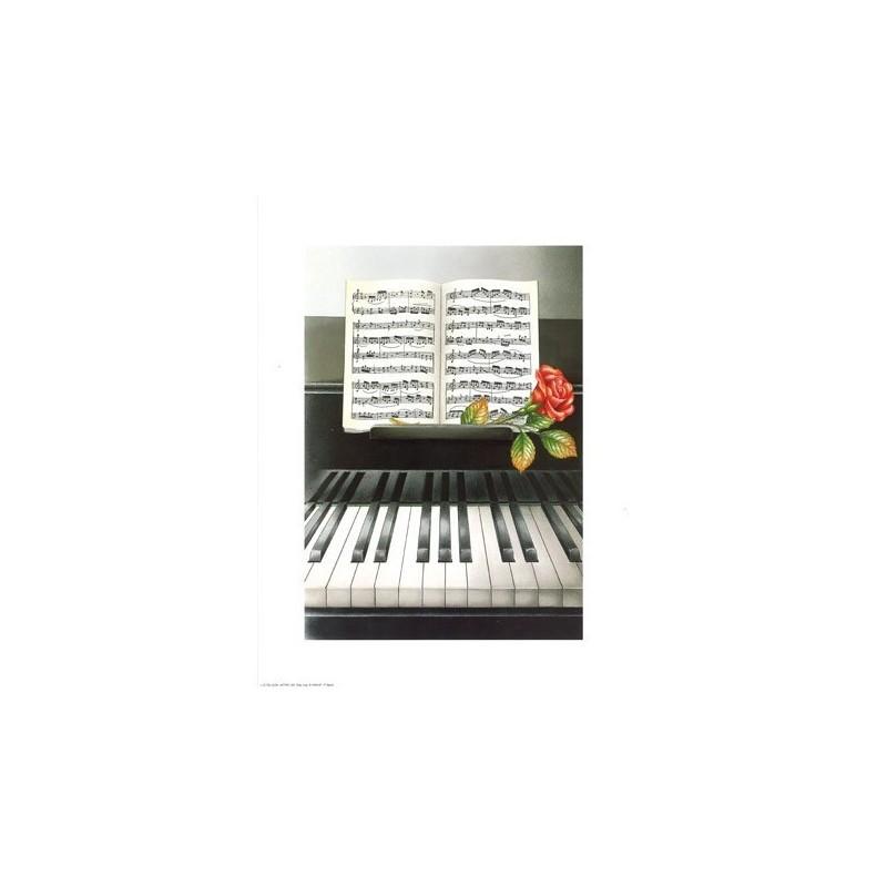 """Image 3 D """"Piano & partition"""" 24 x 30 cm  Tableau à réaliser avec Technique du 3 D"""