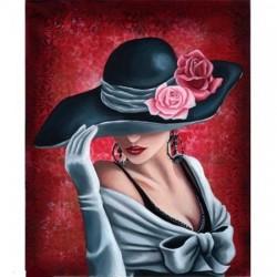 """Image 3 D """"Femme Chapeau"""" image Rétro 30 x 40 cm (Tableau à réaliser avec la Technique du 3 D)"""