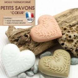 Moule mini pour fabrication savon forme Coeur avec impressions