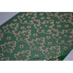 Planche stickers Peel Off  Sapins dorés fond Vert pailleté (10 cm x 23 cm)
