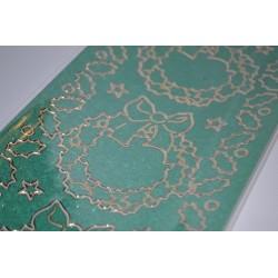 Planche stickers  Peel Off Couronnes de Houx motifs dorés sur fond Vert (10 cm x 23 cm)