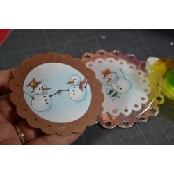 Planche stickers  Peel Off 2 Grosses Boules et feuilles de Houx dorées (10 cm x 23 cm)