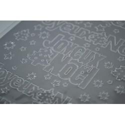 """Planche stickers Peel Off   Ecritures Argentées XL  """"Joyeux NOEL"""" fond Argenté (10 cm x 23 cm)"""