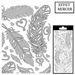 Planche Stickers  Plumes Argentées  fond Brillant argenté, Effet Miroir (10 cm x 23 cm)