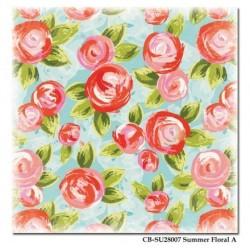 Papier Scrap Double  30x30 cm Carta Bella Roses/Pois Summer Lonvin' Summer Floral  1 feuille avec imprimé RectoVerso