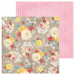 Papier Scrap Double  30x30 cm Bo Bunny collection Sweet Life Tricot/floral 1 feuille avec imprimé RectoVerso