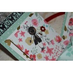 Papier Scrap Double  30x30 cm Brandin O Neil collection : stramberry fields & imprimé, 1 feuille avec imprimé RectoVerso