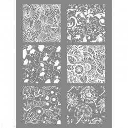 Tapis Pochoir à relief Silk Screen FLORAL pour impression de motifs sur pâte polymère  (11.4 x 15.3 cm, 6 motifs différents)