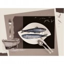 """Image 3 D  Sépia """"Assiette de Sardines""""  30 x 40 cm (vendue à l'unité) pour tableau selon technique du 3D"""