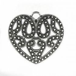 Pendentif  Coeur Ajouré Métal Argenté Création de Bijoux