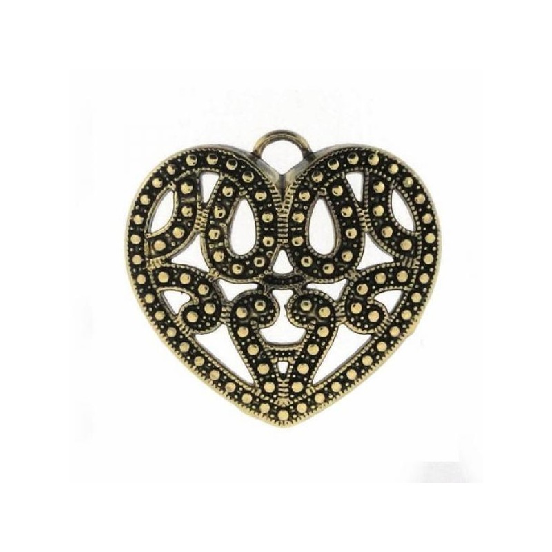 Pendentif  Coeur Ajouré Métal Doré Création de Bijoux