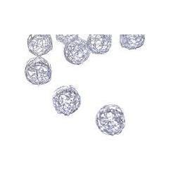 Pendentif  Perle mini pelote Métal Argenté Création de Bijoux ( vendu à l'unité)