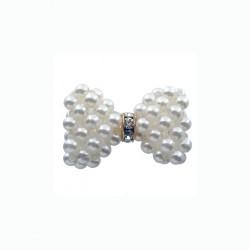 Noeud pendentif en Perles blanches Nacrées  (3.2 cm) (Vendu à l'unité)