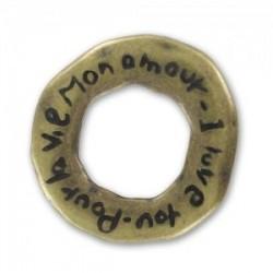 """Anneau Mots D'amour """"Pour la Vie"""" bronze vieilli 22 mm (vendu à l'unité)"""