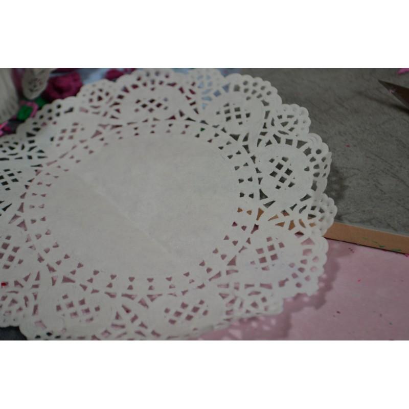 Napperon dentelle de papier papier Blanc diamètre : 16 cm (lot de 6) (alimentaire, ou pour création DIY