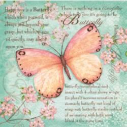 """Serviette en papier motifs """"Butterfly Poetry""""   (vendue à l'unité)  33 x 33cm"""