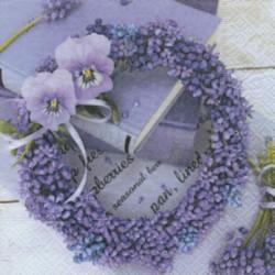 """Serviette en papier motifs """"Couronne de fleurs mauve Blue Wreath""""   (vendue à l'unité)  33 x 33cm"""