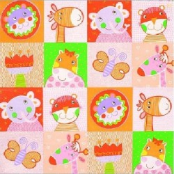 """Serviette en papier motifs """"Enfants Orangé""""   (vendue à l'unité)  33 x 33cm"""