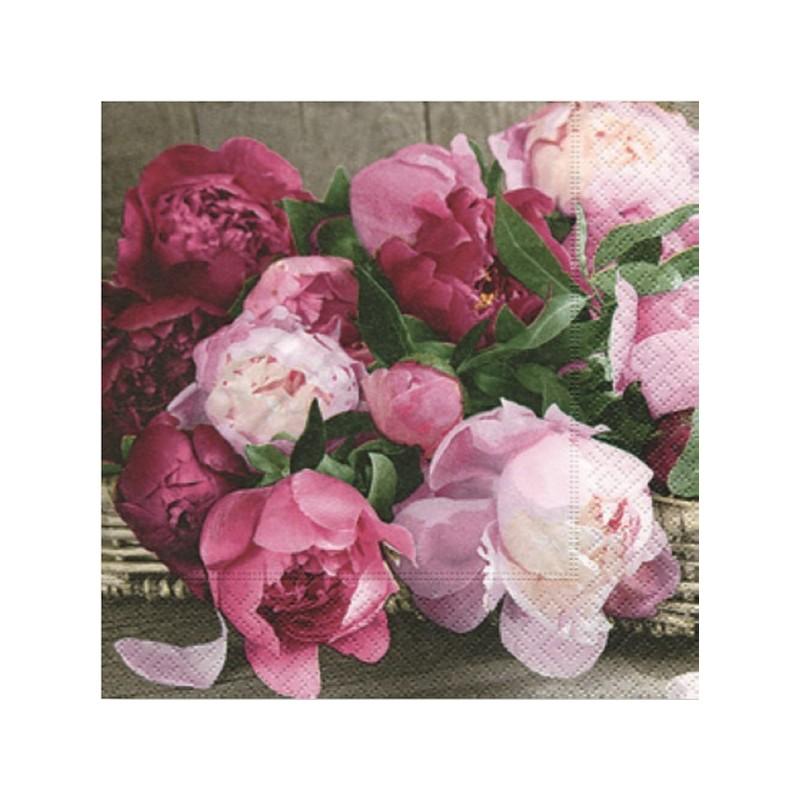 """Serviette en papier motifs """"Pivoines d'Amour Scène""""  Scent of Poeny (vendue à l'unité)  33 x 33cm"""