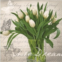 """Serviette en papier motifs Tulipes Blanches """"white Dream""""   (vendue à l'unité)  33 x 33cm"""
